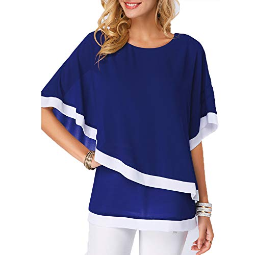 S.CHARMA Womens Irregularity Batwing Sleeve Blouses Ladies Plus Size Round Neck Color Block Chiffon Casual Tops Blue