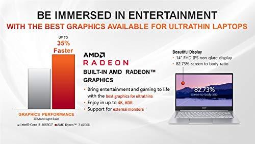 """Acer Swift 3 Thin & Light Laptop, 14"""" Full HD IPS, AMD Ryzen 7 4700U Octa-Core Processor with Radeon Graphics, 8GB LPDDR4, 512GB NVMe SSD, WiFi 6, Backlit Keyboard, Fingerprint Reader, SF314-42-R9YN"""