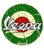 """Grüner runder Aufkleber mit der Aufschrift """"Vespa"""""""