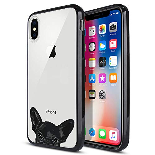 FINCIBO Case Compatible with Apple iPhone X XS, Slim Shock Absorbing TPU Bumper + Clear Hard Back Protective Cover for iPhone X XS 5.8 inch - French Bulldog Puppy Dog Black