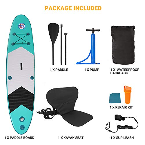 Product Image 7: Promarine Inflatable Stand Up Paddle Board Premium SUP Accessories & Backpack, Non-Slip Paddle Board, Leash, Paddle, Waterproof Backpack,Kayak Seat, Hand Pump, and Repair kit 120 Long 28 Wide 4 Thick