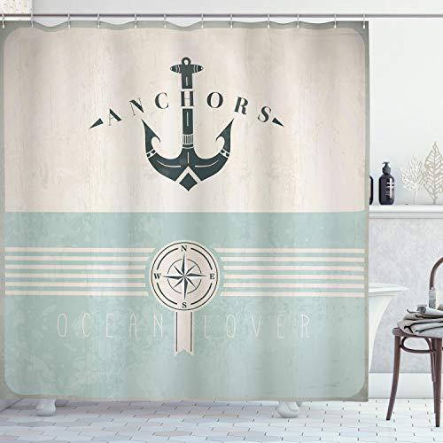 ABAKUHAUS Nautisch Duschvorhang, Vintage Marine Anker, mit 12 Ringe Set Wasserdicht Stielvoll Modern Farbfest und Schimmel Resistent, 175x180 cm, Seafoam Beige Schwarz
