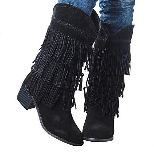 Dihope, botas de ante para mujer, tacón alto, zapatillas con flecos, estilo botines de nieve