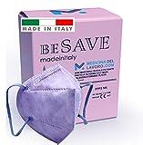 20 Mascarillas FFP2/KN95 Colores Glicina Rosa Homologadas Certificación CE de 5 Capas, Máscara Protectora, Mascarilla de Protección Personal con Filtros de Calidad BFE≥95, 20 Piezas - Made in Italy