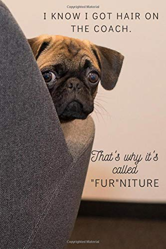I Know I Got Hair On The Coach. That's Why It's Called 'FUR'NITURE: To-do List Checklist Notebook For Pug Lovers ~ 6' x 9'