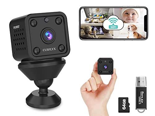 【Upgrade 800 mAh】 Cloud Mini Kamera - CUSFLYX WiFi 1080P Kamera Rechargeable Tragbar Nanny Haustier Büro Garage Heim überwachungskamera IR Nachtsicht Bewegungserkennung IOS/Android(Mit 64G TF-Karte)