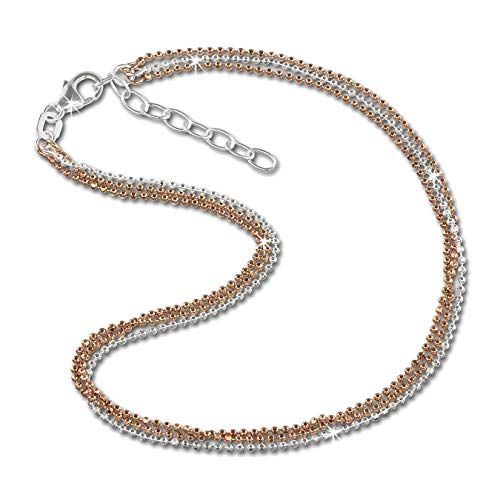 SilberDream Damen-Fußkette 23-26cm 925er Silber rosevergoldet Kugeln D3SDF2123E Silber, Gold Fußschmuck für die Frau