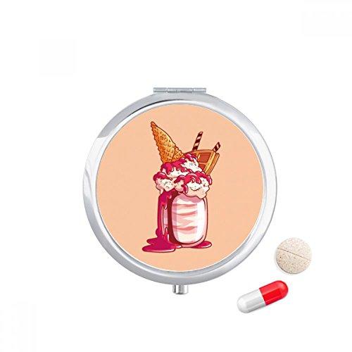 DIYthinker Cream Chocolade Koekjes Ice Cream Travel Pocket Pill Case Medicine Drug Opbergdoos Dispenser Spiegel Gift