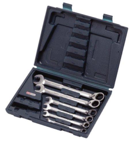 Ks Tools 503.446- Coffret de Clé mixte à cliquet réversible - Gamme GEARplus® - 6 pièces : 8-10-12-13-17-19 mm - En chrome Vanadium - Finition Satinée