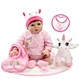 Aori 22 Inch Reborn Baby Dolls Realistic Newborn Dolls Lifelike Weighted Girl Doll with Pink Clothes Accessories and Unicorn Toy Gifts for Girls Age 3+