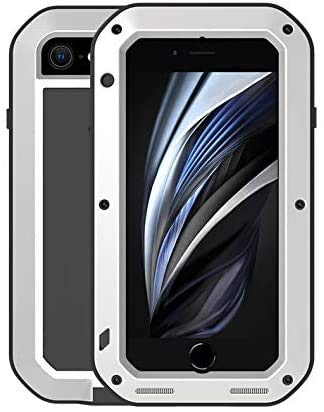 LOVE MEI for iPhone 7 / iPhone 8, iPhone SE 2020 Case, Aluminum Metal Gorilla Glass Waterproof Shockproof Military Heavy Duty Sturdy Protector Cover Hard Case (SE 2020, Silver)