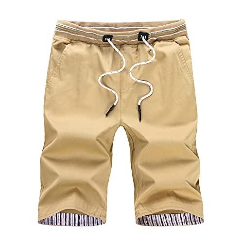 Pantalones Cortos para Hombre Casual Classic Fit Summer Trend Todo-fósforo Lavable Resistencia Casual Cintura elástica Pantalones Cortos básicos con cordón 5XL