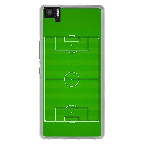 BJJ SHOP Funda Transparente para [ BQ Aquaris M5 ], Carcasa de Silicona Flexible TPU, diseño: Campo de Futbol Verde