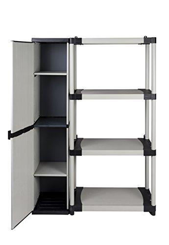 Aufbewahrungslösung XL: Nischenschrank und Schwerlastregal mit vier Böden aus robustem Kunststoff in Hellgrau. Maße BxTxH in cm: 114 x 39,5 x 168 cm. Alle Module auch separat nutzbar!
