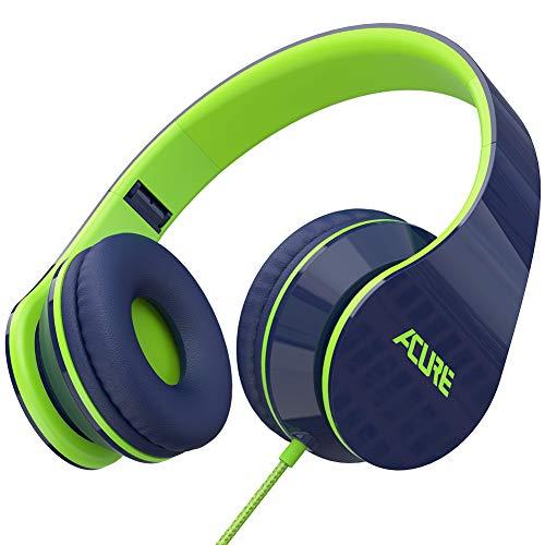 ACURE AC02 Kabel kopfhörer mit leichtem Over-Ear-Design für Kinder Mädchen Jungen, Stereo Faltbar kopfhörer Kompatibel mit Laptop Tablet PC Computer (Blau Grün)