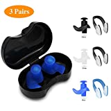 SYOSIN Swimming Ear Plugs Nose Clips, 3 Pairs Professional Waterproof Reusable Silicone Earplugs Nose Clips Nose Protector for Swimming Showering Surfing Snorkeling and Other Adults Water Sports