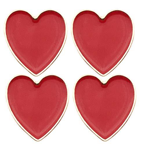 Amosfun Broche de Roupas Broche de Amor Coração Broche Colar Dia Dos Namorados Broche 4 Unidades (Vermelho)