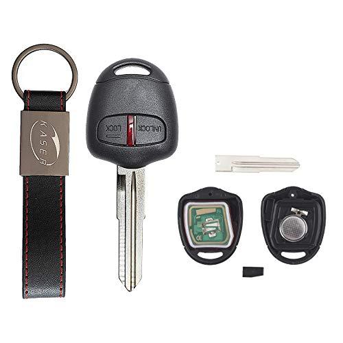 KASER Chiave Telecomando Elettronica 2 Tasti Compatibile per Mitsubishi Triton Pajero Outlander ASX Lancer Lama MIT8 (433MHz ID46 PCF7936 Chip) Scheda Transponder con Portachiavi