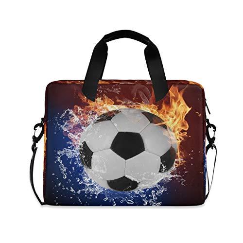 OOWOW - Bolsa para portátil para mujer y hombre, diseño de llama de fuego, balones de fútbol acuáticos, ligero, maletín de 14 15.6 16 pulgadas, funda para ordenador portátil