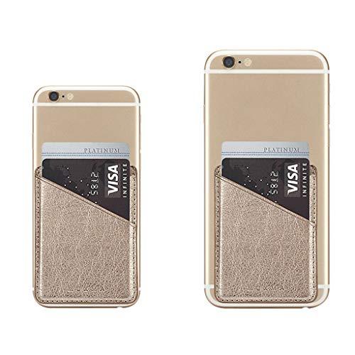 Qiulip Ultra Slim Lederen Mobiele Telefoon ID Kaarthouder Portemonnee Credit Pocket Zelfklevende Sticker Goud