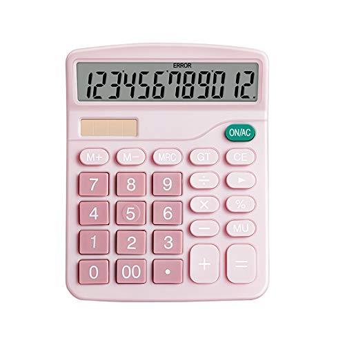 YChoice365 Calculadora de Escritorio Calculadora Solar Calculadora de Negocios Pantalla de 12 Dígitos Calculadora de Oficina Herramienta de Contabilidad para Oficina Escuela en Casa Rosa