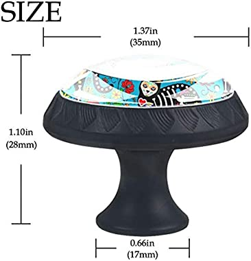 "4 Pack Round Cabinet Hardware Knob Calavera Sugar Skull Black Cats - 1-37/100"" Diameter - knobs for Dresser Drawers"