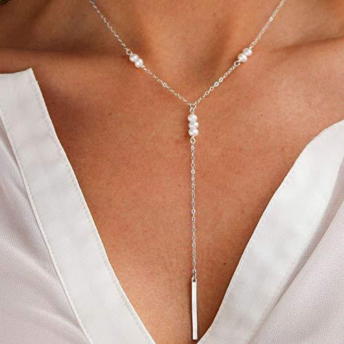 TseenYi Perlas Y Lariat Collar de perlas de plata con colgante de cadena de perlas clásicas y largos collares de perlas para mujeres y niñas (plata)