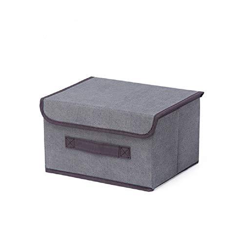 nanji Caja de Almacenamiento Plegable con Tapa, Caja de Almacenamiento de algodón y Lino, Caja de Almacenamiento para Juguetes, estantes, Ropa, Papel y Libros, etc.