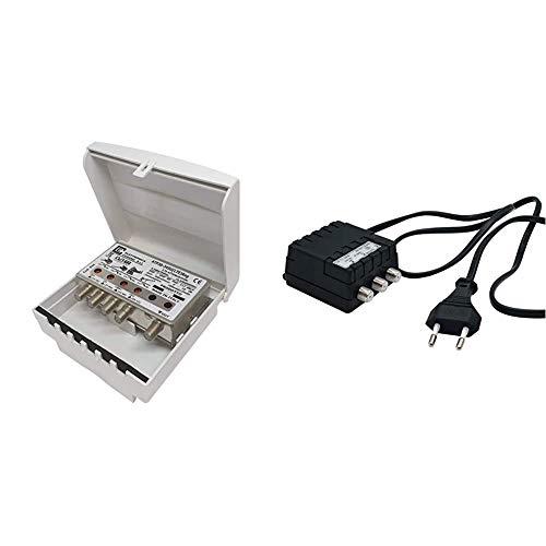Elettronica Cusano ATP30-345U(LTE) Reg Amplificatore Antenna Tv da Palo con Filtro Lte/4G & AL200/2 - Alimentatore per amplificatori antenna tv, 12V 200mA, 2 uscite con connettori F