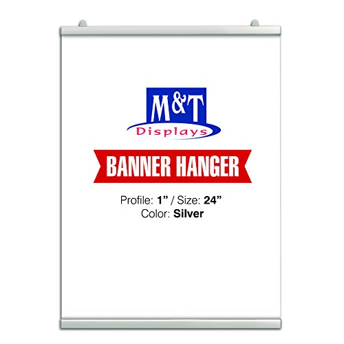 """M&T Displays Snap Poster Clamp Rail Set for 24"""" Poster Width 1"""" Silver Anodized Aluminium, Reusable"""