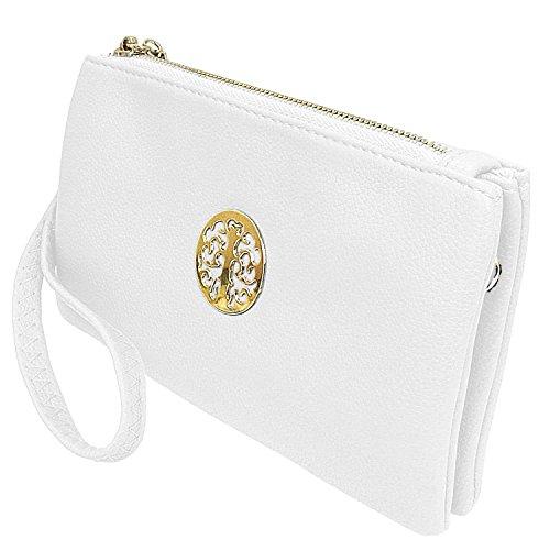 Long & Son 3141 - Piccola pochette da donna, con cinturino da polso e tracolla, Bianco (bianco), Taglia unica