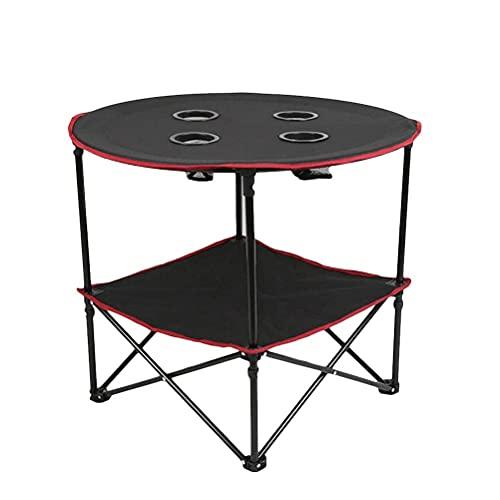 HQYCJYOE Mesa de camping portátil de comedor plegable al aire libre Mesa de picnic fiesta jardín, forma redonda plegable en la mitad mesa plegable (diámetro 72 cm)
