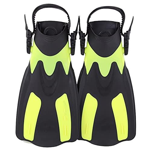 GDYJP Aletas de natación Ajustables para Adultos Snorkel Pie albaretea Finanzas de Buceo Equipo de Deportes de Agua para Principiantes Portátiles de Buceo (Color : Yellow, Tamaño : 36-41)