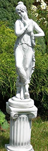 Deko Garten Figur Statue antike Frau auf ionischer Säule als Satz Skulptur aus Beton Gesamthöhe 100 cm