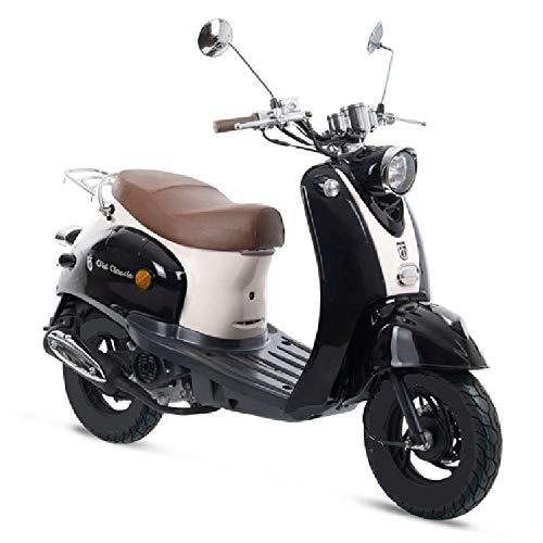 Motorroller GMX 460 Retro Classic 45 km/h schwarz weiß - sparsames 4 Takt 50ccm Mokick mit Euro 4 Abgasnorm