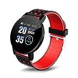 SSGLOVELIN 2020 Nuevo Reloj Inteligente 119 Plus Pulsera Hombres Mujeres Niños Control de Actividad podómetro Contador de Paso del Reloj del Deporte for Android iOS (Gem Color : Red)