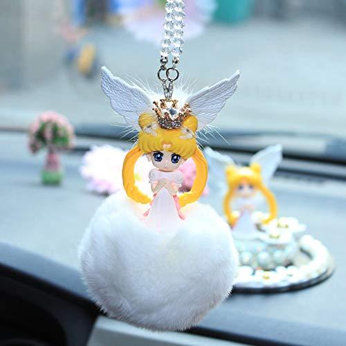 YiXing Colgantes de coche Sailor Moon Fur Ball Charms Para Auto Espejo retrovisor Colgante Decoración Lindo Accesorios Decoración del Hogar Ornamento