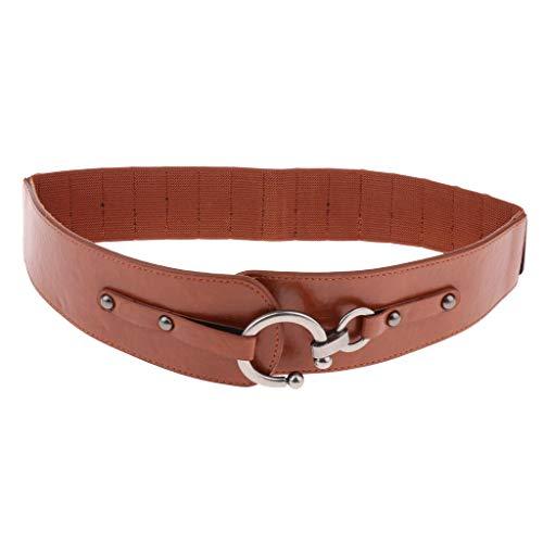 IPOTCH Correa de Cintura Elástica de Cuero PU Banda Amplia con Hebilla Metal de Vendimia Accesorios de Ropas para Mujer - Marrón, M