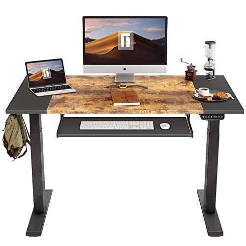 FEZIBO Dual Motor Height Adjustable Electric Standing Desk with Keyboard Tray, 48 x 24 Inch Sit...