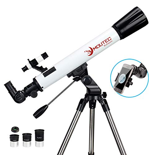 Moutec Telescope for Astronomy Beginners with Sturdy Steel Tripod 700x70mm AZ Astronomical Refractor Telescope for Adults Great Astronomy Gift for Kids to Explore Moon and Planets