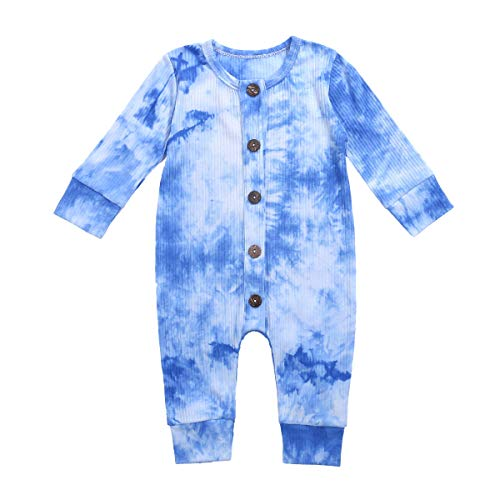 iddolaka Newborn Baby Boy Girl Long Sleeve Tie Dye Romper Button Jumpsuit Bodysuit One Piece Outfit Fall Winter Clothes (A-Blue, 6-12 Months)