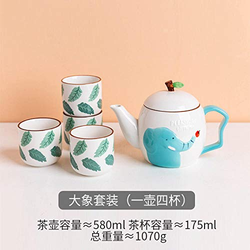 LOYWT Juego de té de cerámica Japonesa de la Tetera de la Flor de la Tetera de la Taza Taza de té Set casero del Elefante (una Olla Cuatro Tazas) Caja de Regalo