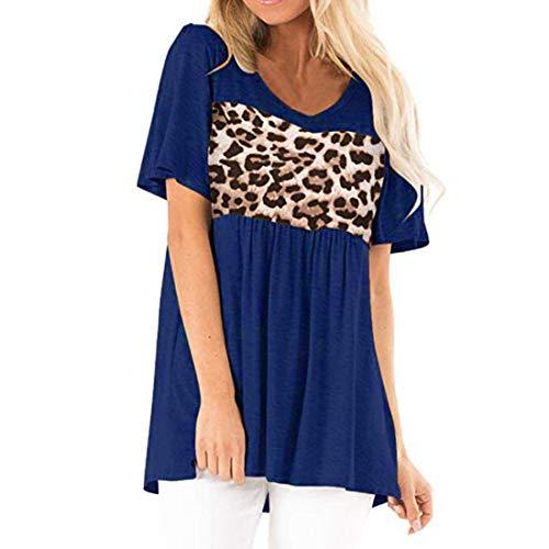 Camiseta de Manga Corta de Verano para Mujer Tops Sueltos Casuales Top con Estampado de Leopardo Blusa Sexy Top de Manga Corta Camiseta de Color sólido Informal Sudadera de Mujer Camisa Larga