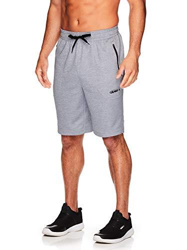 AND1 - Pantalones cortos de baloncesto para hombre con cordón elástico y bolsillos con cremallera, Gris Brezo, Small