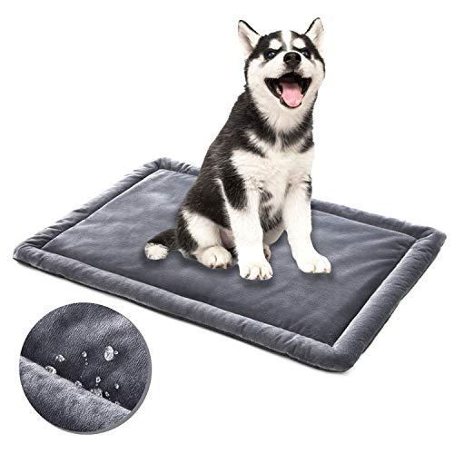 ALLISANDRO Hundematte rutschfeste wasserdichte Hundedecke 80x60cm, 100x70cm, 120x70cm Hundekissen In und Outdoor wasserdichte Decke Waschbar Micro Plüsch Oberfläche Grau