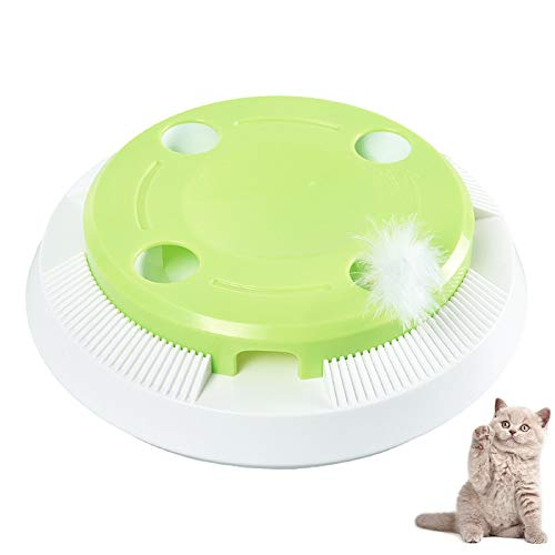 SANGSHI Juguete electrónico para gatos interactivo, juguete inteligente con muelle giratorio, apagado automático, divertido para gatos domésticos, gatitos