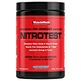 MuscleMeds Nitrotest Pre-Workout Supplement Drink, Boost Nitric Oxide, Testosterone, Blue Raspberry, 30 Serving, 1.04 Pound, 1 Count