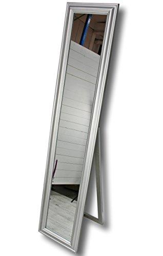 180x40cm Standspiegel groß antik mit Patina | Spiegel mit Fuß barock aus Holz | im Landhausstil als Badspiegel | Schminkspiegel bzw. Frisierspiegel für das Landhaus | Ankleidespiegel (Silber, 180 x 40 cm)