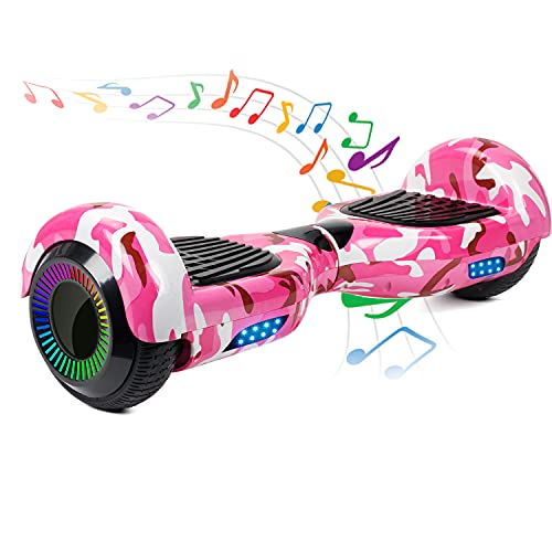 Felimoda Hoverboard, 6.5 Inch self Balancing Hoverboard with LED Light Flashing Wheel for Kids & Adult (Camo Pink)