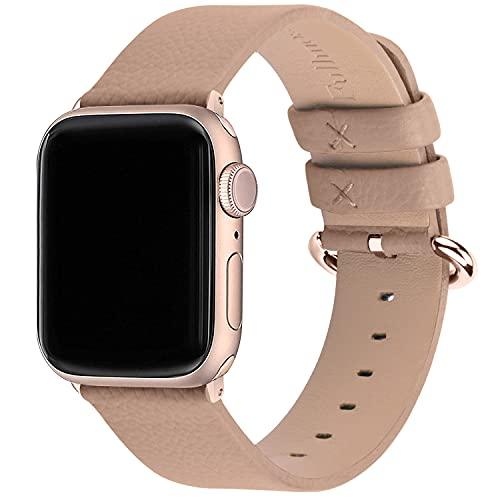 Fullmosa Correa de Apple Watch, 38 mm 40 mm 42 mm 44 mm Correa Compatible con iWatch, Correa de Cuero, Compatible con Apple Watch SE y Serie 6 5 4 3 2 1, Camel + Hebilla de Oro Rosa, 42mm/44mm